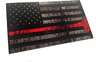 The Tattered and Burned Reflective Thin Red Line with Axe United States Flag Tactical Firefighter EMT Paramedics 3m Decal 3.5 x 2