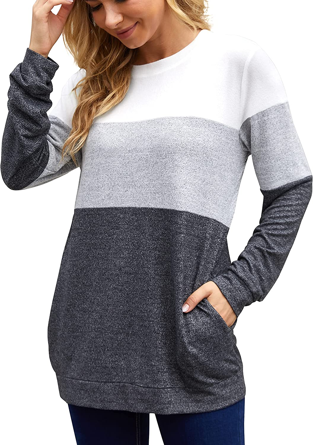 Ahacool Long Sleeve Shirts for Women Color Block Tops with Pockets Sweatshirts