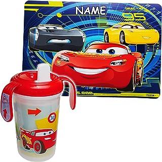 BPA frei Set: Platzdeckchen au.. Lightning McQueen Auto Name Disney Cars Trinklernbecher // Trinklerntasse // Trinklernflasche 400 ml inkl alles-meine.de GmbH 2 TLG