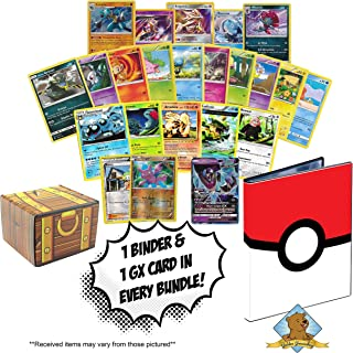 100 Pokemon Cards Featuring Pokeball 4-Pocket Portfolio Binder to Hold and Protect Your Cards - GX - Foils - Holo Rares - Golden Groundhog Treasure Chest Box!