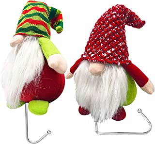 Christmas Stocking Holder - 2 Christmas Gnomes Plush Mantle Hanger for Holiday Stockings & Mantle Decor | Christmas Stocking Hooks for Mantle | Christmas Stockings Hanger & Stocking Holders for Mantle