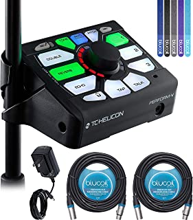 TC Helicon Perform-V Vocal Effects Processor Bundle with 12V 1000mA DC Power Supply, Blucoil 2-Pack of 20-FT Balanced XLR Cables, and 5x Cable Ties
