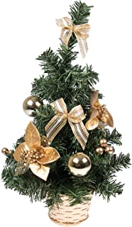 Clever Creations Mini Artificial Christmas Tree with Gold Bows Best Choice Christmas Decoration for Table and Desk Tops   Small 16