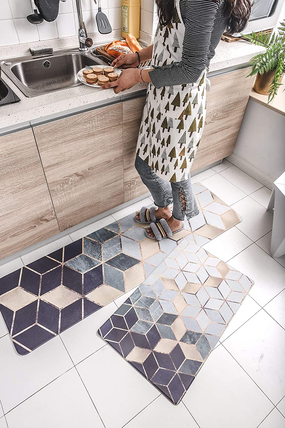 2 Piece Non-slip Anti-Fatigue Kitchen Mat – (17.7  x 29.5 +17.7  x 59 ) Soft Non Skid Throw Rugs Runner Carpet for Kitchen Hallway Entryway and Bedroom – Oil Resistant Long PVC Kitchen F (Dream Light)