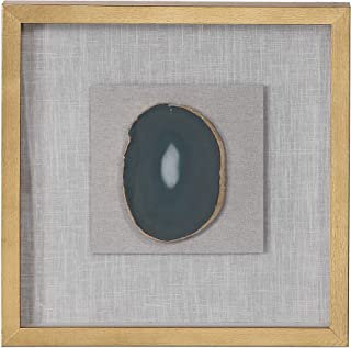 MY SWANKY HOME Luxe Gold White Agate Stone Slice Wall Art Shadow Box Frame Square Sculpture
