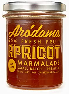 ARODAMA PREMIUM APRICOT GREEK MARMALADE (JAM, SPREAD) , 7.8 OZ/ 220 GRS CRETAN PRODUCT 100% NATURAL NO PRESERVATIVES OR ADDITIVES AWARDED
