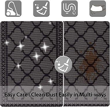 Carvapet Moroccan Trellis Non-Slip Doormat Durable Honeycomb Texture Kitchen Rug Runner Carpet Set, Indoor Outdoor, Low-Profi