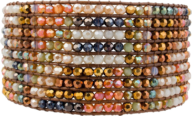 Joob Joob Handmade Boho Bracelets For Women - Colorful Crystal Beaded Bracelets - Easy Adjustable Leather Cuff Bracelet with Slider Opening