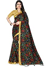 The Fashion Outlets women's & Girls Raw Silk Printed Bhagalpuri saree with Blouse Piece_Black
