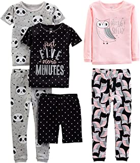 Simple Joys by Carter's Girls' 6-Piece Snug Fit Cotton Pajama Set
