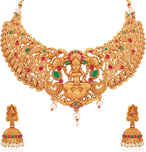 Stunning Gold Plated Temple Jewellery Goddess Laxmi Choker Necklace Set For Women