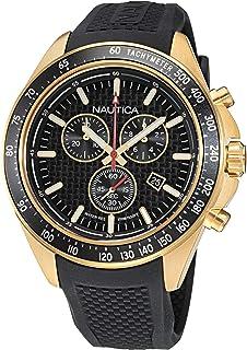Nautica Men's Stainless Steel Quartz Silicone Strap, Black, 22 Casual Watch (Model: NAPOBS110)