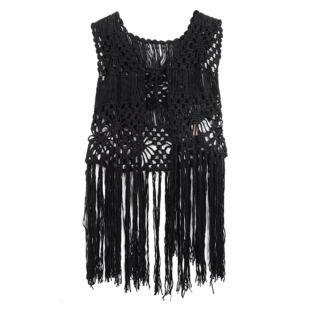 Acemi Sleeveless Crochet Long Tassels Fringe Vest 70s Cover up Hippie Clothes for Women Free Size