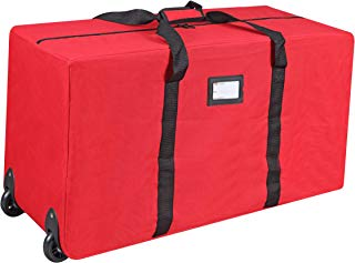 """Primode Holiday Rolling Tree Storage Bag, Large Heavy Duty Storage Container, 22"""" Height X 16"""" Wide X 50"""" Long with 2 Wheels and Handles Fits Up to 6 Foot Tall Disassembled Tree (Red)"""
