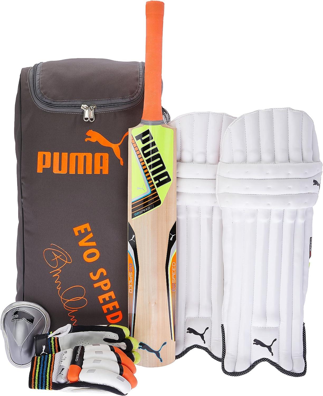 Puma Cricket, Evospeed 2 Mccullum Cricket Set, Small Boys, Lava Blast Safety Yellow, Right Hand