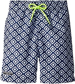 Toobydoo Blue White Patterned Swim Shorts (Infant/Toddler/Little Kids/Big Kids)