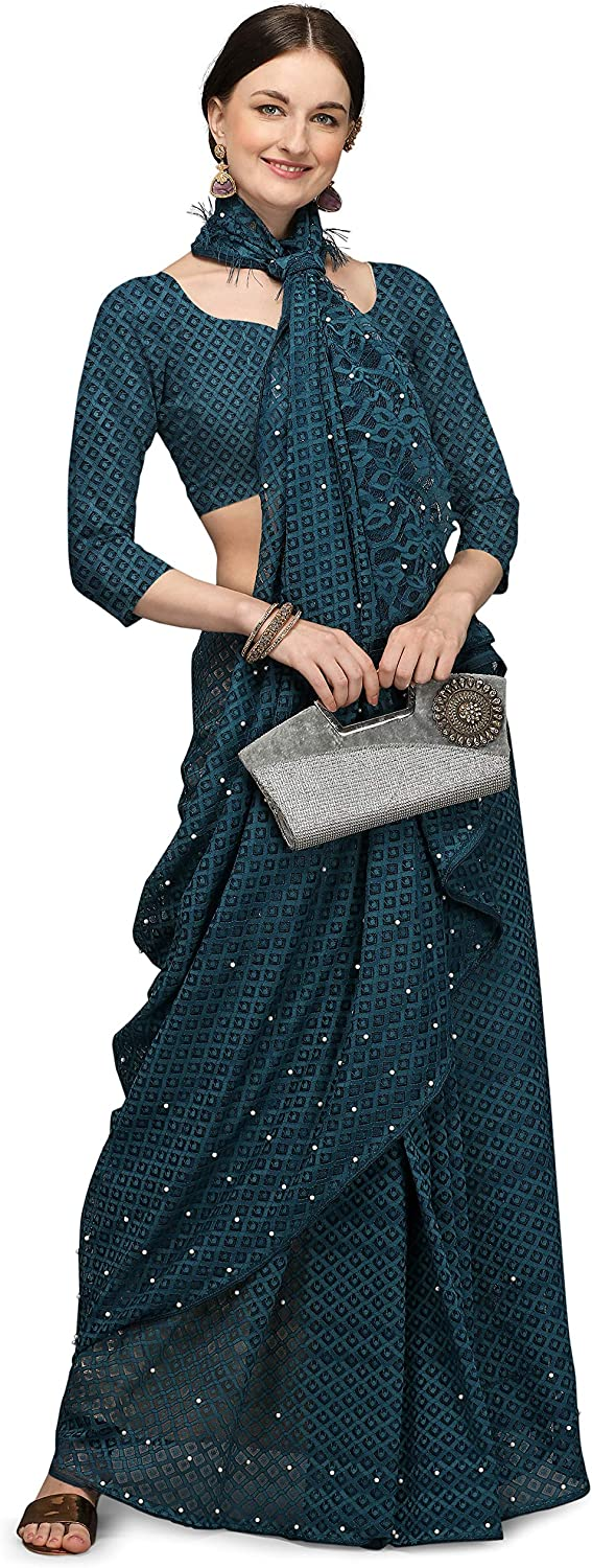 Voga OFFicial shop Animer and price revision Women's Jacquard Net Saree Ethnic Wedding Indian Dresses Sa