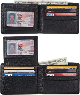 BSWolf Wallet for Men Genuine Leather RFID Blocking Bifold Wallet With 2 ID Window