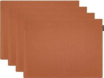 MSRUOLAN ピュアリネンプレースマット-30x45cm 4枚。孔雀-100%リネン天然繊維手作りの厚い、滑り止め、洗濯機で洗えるクラシックプレースマットの2層(K2 コーヒー+ラフィグラ)
