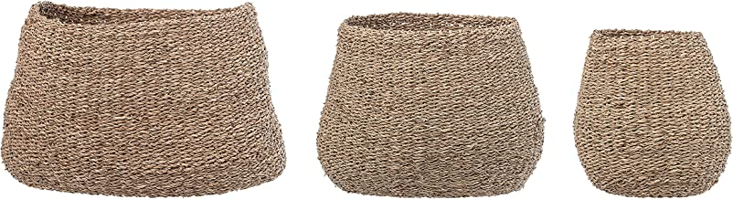 Bloomingville Brown Natural Sizes Seagrass Baskets (Set of 3)