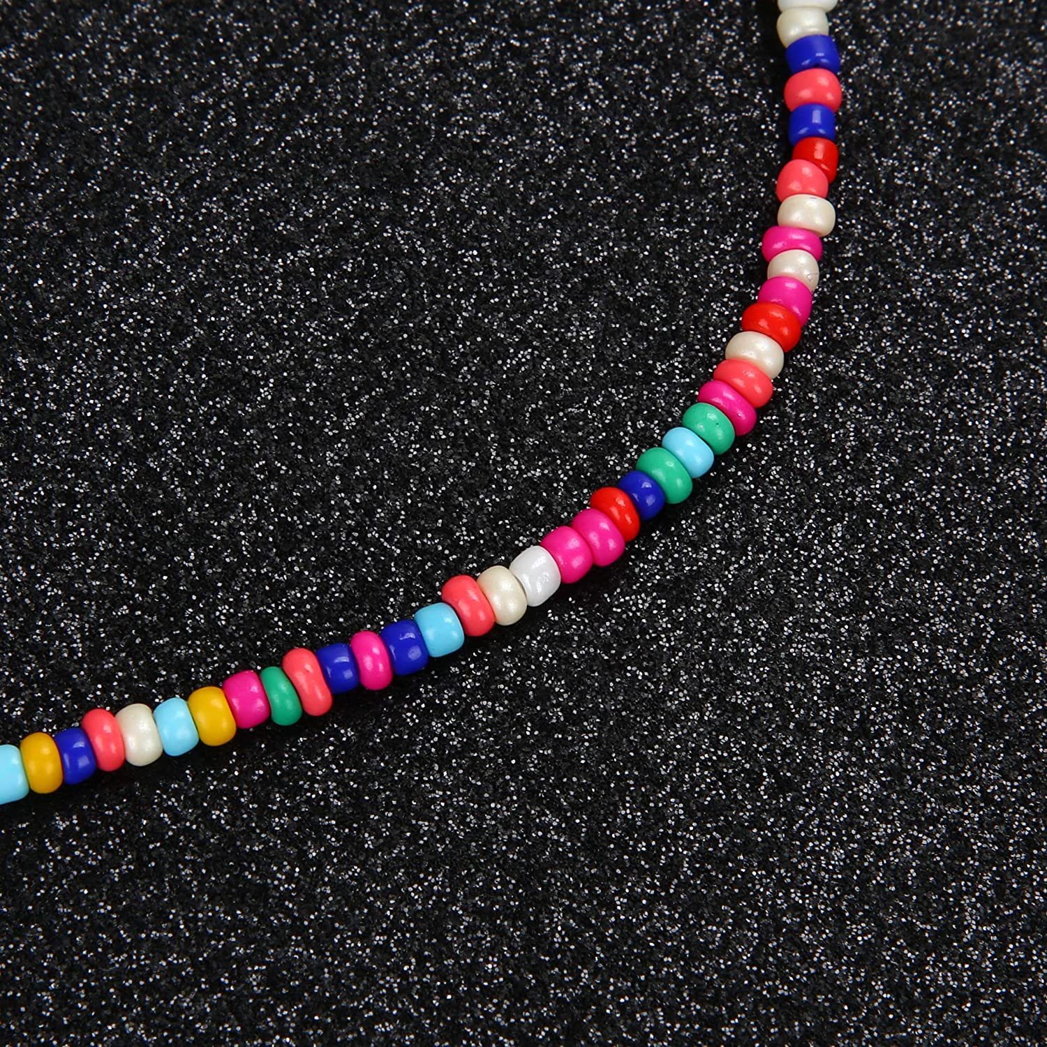 SCIONE Beaded Necklace 10 Pieces Tiny Seed Beaded Necklace Boho Hawaiian White Rainbow Adjustable Colorful Necklaces for Women Girls