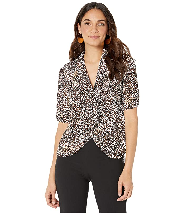 1.STATE  Animal Beats Cinched Sleeve Twist Front Blouse (Burnt Carmel Multi) Womens Blouse