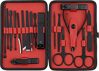 Beauté Secrets Manicure Set, Manicure kit for women, Pedicure kit 18 in 1 Nail Scissors Grooming Kit with Black Leather Tr...