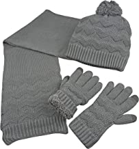 N'Ice Caps Women's Sherpa Lined Cable Knit Touchscreen Glove/Hat/Scarf Set