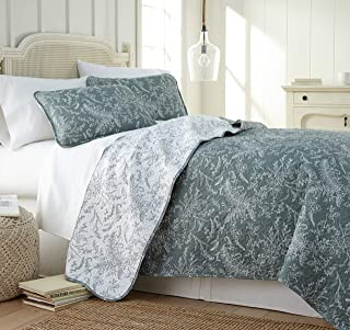 Southshore Fine Linens - Winter Brush Print Reversible Quilt Set, Teal, Twin/Twin XL