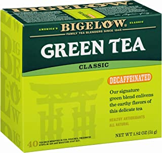 Bigelow Decaffeinated Green Tea 4, Decaffeinated Individual Green Tea Bags, for Hot Tea or Iced Tea, Drink Plain or Sweetened with Honey or Sugar, 40 Count, Pack of 6