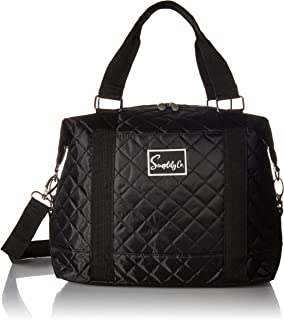 Travel Weekender Overnight Carry-on Under The Seat Shoulder Tote Bag (Small, Black Quilted)