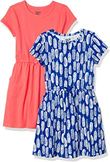 Girls Blue Cotton One Sleeve Dress w//White Embroidery  Age 6-7 /&-8 RRP £20