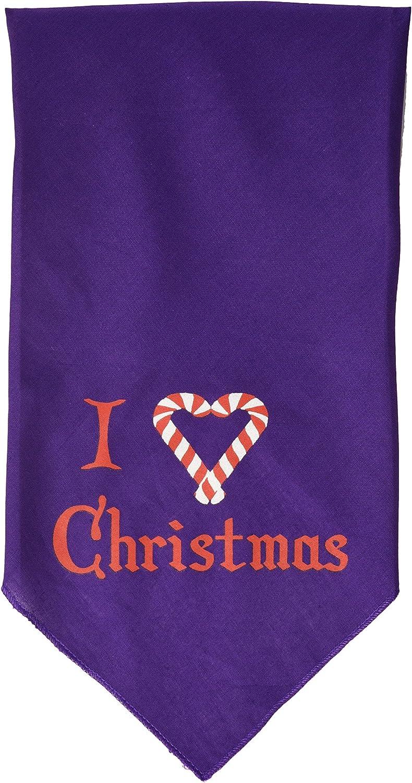 Small Mirage Pet Products Heart Christmas Screen Print Bandana for Pets Purple