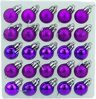 Christmas Concepts Pack of 25-25mm Mini Christmas Tree Baubles - Shiny, Matte & Glitter Decorated Baubles (Purple)