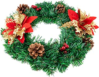 Clever Creations Christmas Wreath Poinsettia with Gold Leaf Petals, Pine Cones and Berries   Perfect for Interior or Exterior Christmas Decor   Hang on Doors, Walls, Stairs and More!   12