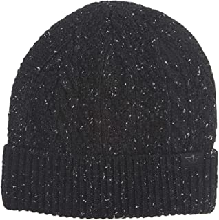 Men's Cable Knit Beanie Hat, Black, One Size