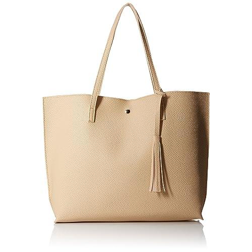 5521ee8505 Oct17 Women Large Tote Bag - Tassels Faux Leather Shoulder Handbags