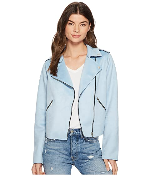 MEMBERS ONLY Suede Pu Moto Jacket, Light Blue