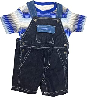 Calvin Klein Baby Boys' 2-Pc. Striped T-Shirt & Shortall Set- Blue