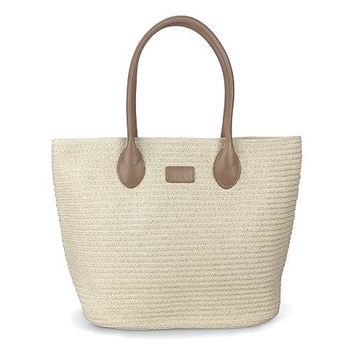Straw Rattan Women Tote Summer Beach Shoulder Handbag Medium Size 17.8x12.6