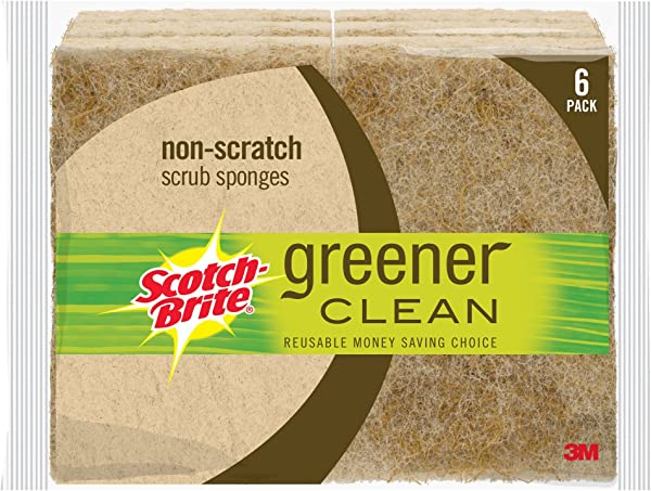 Scotch Brite Greener Clean Natural Fiber Non Scratch Scrub Sponge Everyday Cleaning Power Made From Plants 6 Scrub Sponges