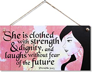 """CARISPIBET She is Clothed   Home Religious Sign, Motivation and Inspirational Signs, Home Decoration, Wall Art 6"""" x 12"""""""