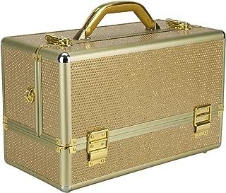 Ver Beauty Rucella Makeup Case Professional Nail Travel Organizer Box, Gold Krystal, 7 Pound