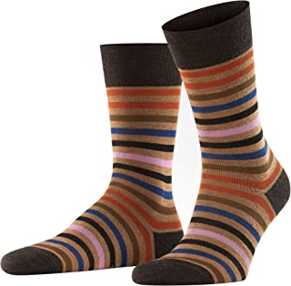 FALKE Men's Tinted Stripe Socks Merino Wool Blue Grey More Colours Thin Light Colourful Calf Socks Patterned For All Occas...