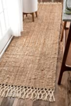"""nuLOOM Raleigh Hand Woven Wool Runner Rug, 2' 6"""" x 10', Natural"""