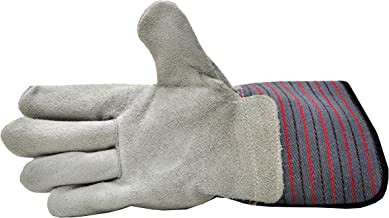 G & F 5025L-5 Premium Suede Leather Work Gloves with Extra Long Rubberized SAFETY Cuff, 5 Pair Pack.