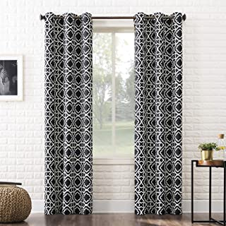 "Sun Zero Barnett Trellis Blackout Grommet Curtain Panel, 40"" x 95"", Black"