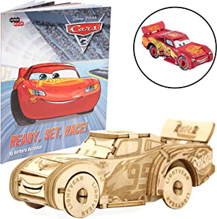 Disney Pixar Cars Lightning McQueen Book and 3D Wood Model Figure Kit - Build, Paint and Collect Your Own Wooden Movie Toy Model - for Kids and Adults, 8+ - 4