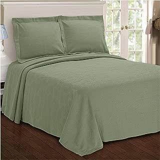 Superior Paisley Jacquard Matelassé 100% Premium Cotton Bedspread with Matching Shams, Full, Sage