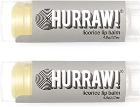 product image for Hurraw! Licorice Lip Balm, 2 Pack: Organic, Certified Vegan, Cruelty and Gluten Free. Non-GMO, 100% Natural Ingredients. Bee, Shea, Soy and Palm Free. Made in USA